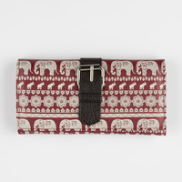 Tribal Elephant Wallet Burgundy One Size For Women 22799732001