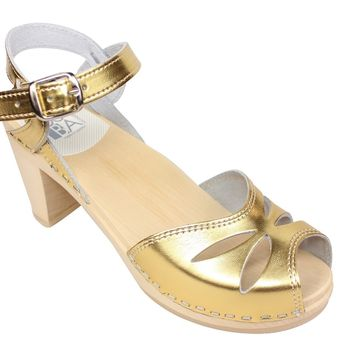 Maguba High Heel Rio Gold Clogs