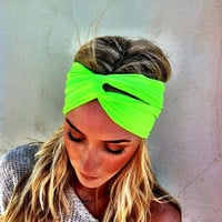 Neon Fluorescent Green Turban Stretch Headband - Twisted Women's wide hair band urban turban head wrap headband (HBT-04)