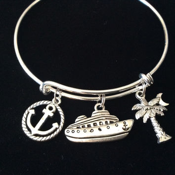 Cruise Ship Anchor Palm Tree Silver Expandable Charm Bracelet Adjustable Bangle Worker Gift Retirement