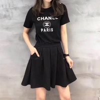 """CHANEL"" Fashion Casual Letter Print Short Sleeve T-shirt Short Ruffle Skirt Suits Set Two-Piece"