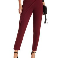 Wine Draped & Tapered Wrap Trouser by Charlotte Russe