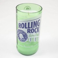 Beer Bottle Candle from Upcycled Rolling Rock Beer Bottle, Beer Bottle Candle Custom Scent