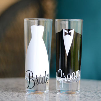 Bride and Groom shot glasses - Set of 2 - dress and tux - 2 oz cordial glass