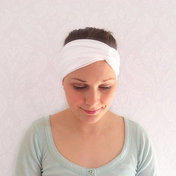 White Turban Headband, Stretchy Twist Headband, Fashion Hair Accessories, Head Wrap, Turban, Ear Warmer, Sweatband, Turband, Teen Gift Idea