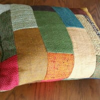 "Vintage Handmade Patchwork Upholstery Throw Pillow,Handmade 16""x13"""