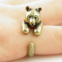 Animal Wrap Ring - Bear - Bronze - Adjustable Ring - keja jewelry