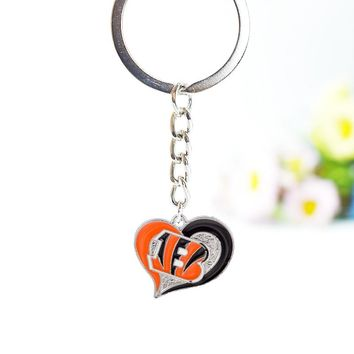 10PCS Football Cincinnati Bengals Enamel Keychain Jewelry Sport Team Silver Color Metal Keychain For Men Women Jewelry