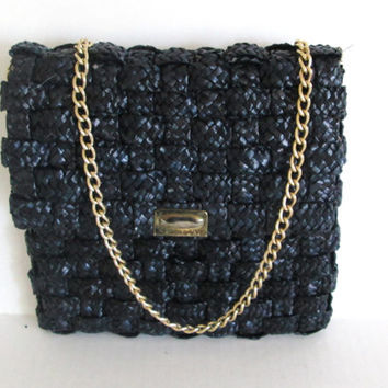 Vintage Navy Blue Purse Woven Raffia Handbag Chain Strap Made in Hong Kong