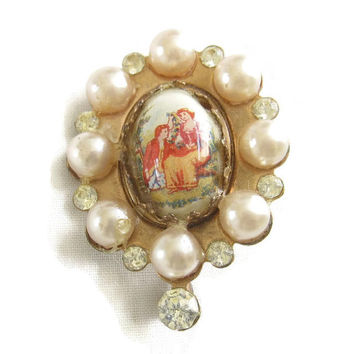 Vintage Antique Copper and Faux Pearl Cameo Brooch or Pin Hand Painted