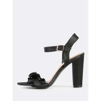 Frill Band Satin Heels BLACK