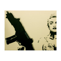 MADONNA Who's That Guerilla TRUE BLUE 11 x 14 Original Painting Pop Art Portrait Graffiti Inspired Spray Paint Acrylic Canvas Original
