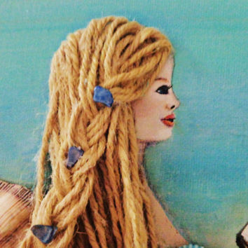Beach Decor Mermaid Wall Hanging. Blonde Hair Blue Eyes Original Art. Acrylic Painting on Canvas..