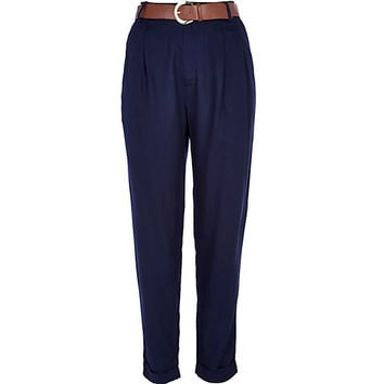 Navy high waisted belted pants - slim pants - pants - women