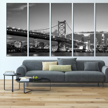Canvas print wall art Philadelphia, ben franklin bridge large canvas print, extra large wall art, Philadelphia skyline wall decor art  t127