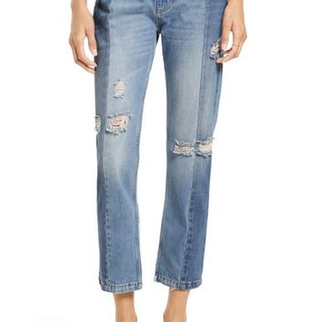 Free People The Patchwork High Waist Crop Jeans | Nordstrom