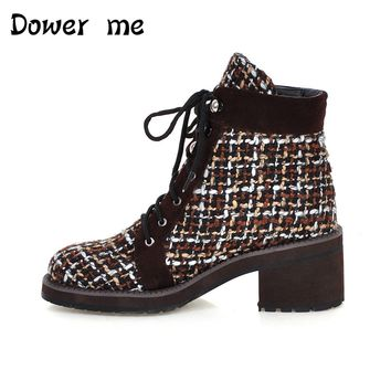 Dower me 2017 new Women Ankle Boots Cow Suede 2017 Winter Snow Boots Cross tied Mixed Colors Wedges Black Warm Shoes