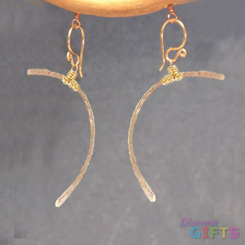 """Hammered heavy gauge curves withopposite wire wrapping, 1-1/2"""" Earring Gold Or Silver"""