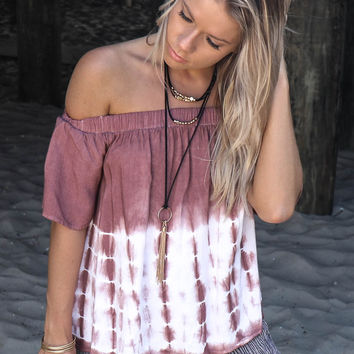 I'll Cover You Light Plum Tie Dye Off Shoulder Top