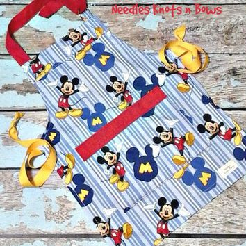 Mickey Mouse Apron, Kids Apron, Childrens Apron, Boys - Girls