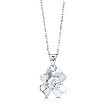 Sterling Silver 925 Cubic Zirconia CZ Lucky Dogwood Flower Necklace #n874