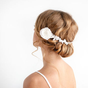 Bridal Fascinator - Bridal Lace Leaf Headband with Flowers Light Ivory - Wedding Hair Piece