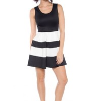 Rock Around the Block Stripe Sleeveless Skater Dress - Black and White from The Vintage Shop at Lucky 21