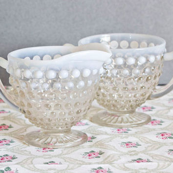Anchor Hocking Moonstone Opalescent Hobnail Glass Creamer and Sugar Set, Vintage Teatime
