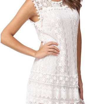 B| Chicloth Summer Casual Lace Sleeveless Tassel Women's Shift Mini Dress
