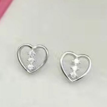 925 sterling silver heart small zircon earrings E4857-0414 -Gifts box