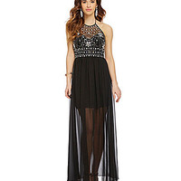 B. Darlin Jeweled Illusion Halter Neckline Gown | Dillards.com
