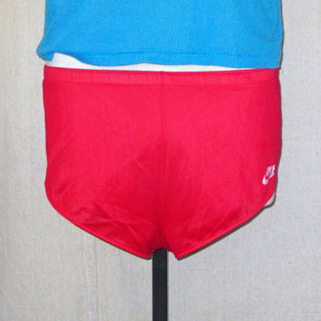 Vintage Rare 80s NIKE SPRINTER USA Orange Tag Athletic Red Small Medium Lined Nylon Running Shorts