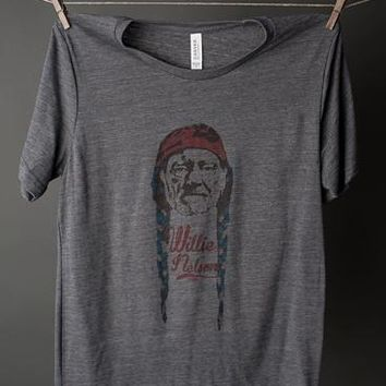 "Gina ""Willie Nelson"" Grey Slub Tee"