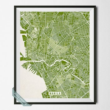 Manila Print, Philippines Poster, Manila Poster, Manila Map, Philippines Print, Street Map, Philippines Map, Wall Art
