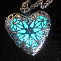 Steampunk  necklace locket Victorian gothic lolita pendant charm GLOW in the dark jewelry with Fairy Angel magical mystical dust -Aqua-sil