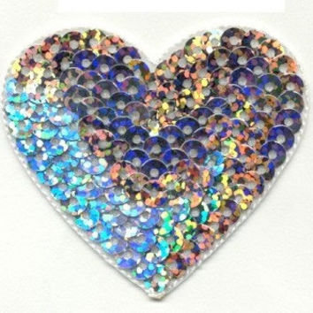 Iron On Patch SEQUIN HEART SILVER 2 1/8 X 2 Applique Iron or Sew Heart Iron On patch by Cedar Creek patch Shop on Etsy