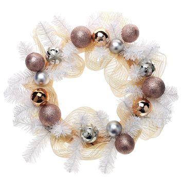 Decorated Mesh Ribbon & Rose Gold Spheres Christmas Wreath, White/Gold, 21-Inch