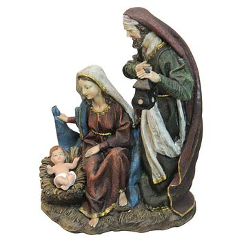 "14 ""Silent Night"" Polyresin Holy Family Nativity Decorative Figurine"