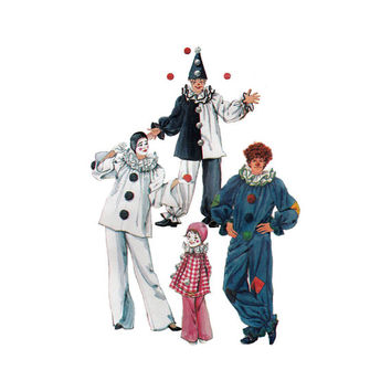 """1980's Simplicity 5740 Boy or Girl's Clown Costumes and Hats Size 6- 8    Chest 25- 27""""/ 64- 69cm    Vintage Sewing Pattern UNCUT"""