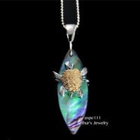 ABALONE PAUA SHELL SURFBOARD SILVER 925 HAWAIIAN MOVING 2 TONE TURTLE PENDANT