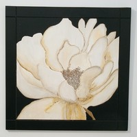 Wood Wall Art, Flower Contemporary Black and White, Minimalist Art