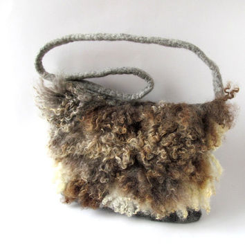 Felted  handbag   Grey brown  fringe felt fur curly wool locks