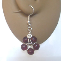 Handmade Silver Plated Dark Red Crackle Glass Wire Wrapped Pentagram Earrings. Pentacle Earrings, Wiccan Jewelry, Pagan Symbol