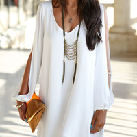Sexy White v Neck Split Long Sleeve Dress