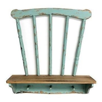 Vintage Distressed Chair Back Wall Shelf