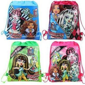 Retail monster high cartoon non-woven fabrics drawstring backpack,schoolbag,shopping bag