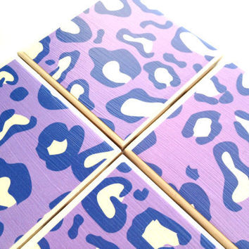 Purple Leopard Ceramic Coasters Animal Print Tile by QueenOfDeTile