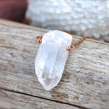Natural Crystal Necklace - Beach Boho Jewelry from Hawaii - Gypsy Necklace- Bohemian Jewelry - Clear Crystal Quartz Necklace - Gypsy Jewelry