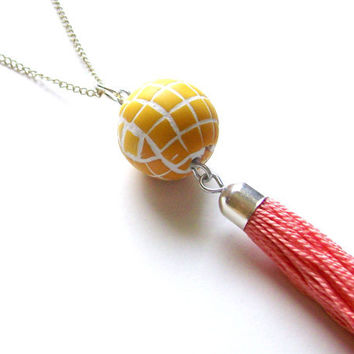 polymer clay mosaic pendant with tassel ombre Yellow Spring large mosaic bead sunny yellow color progression