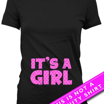 Pregnancy Announcement T Shirt Baby Announcement Pregnancy Reveal It's A Girl New Baby Girl Gift Maternity Outfits Ladies Tee MAT-658